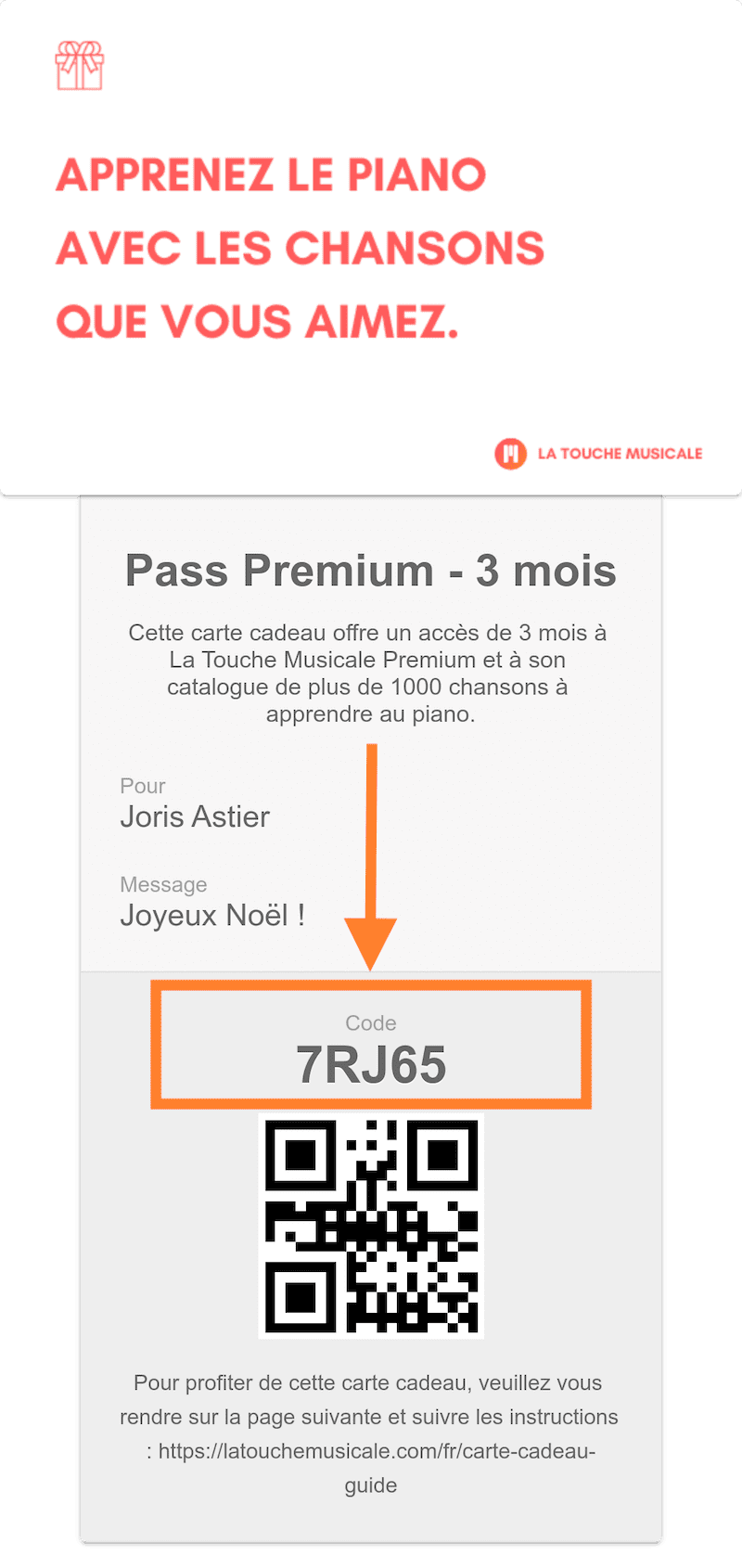 carte cadeau code activation
