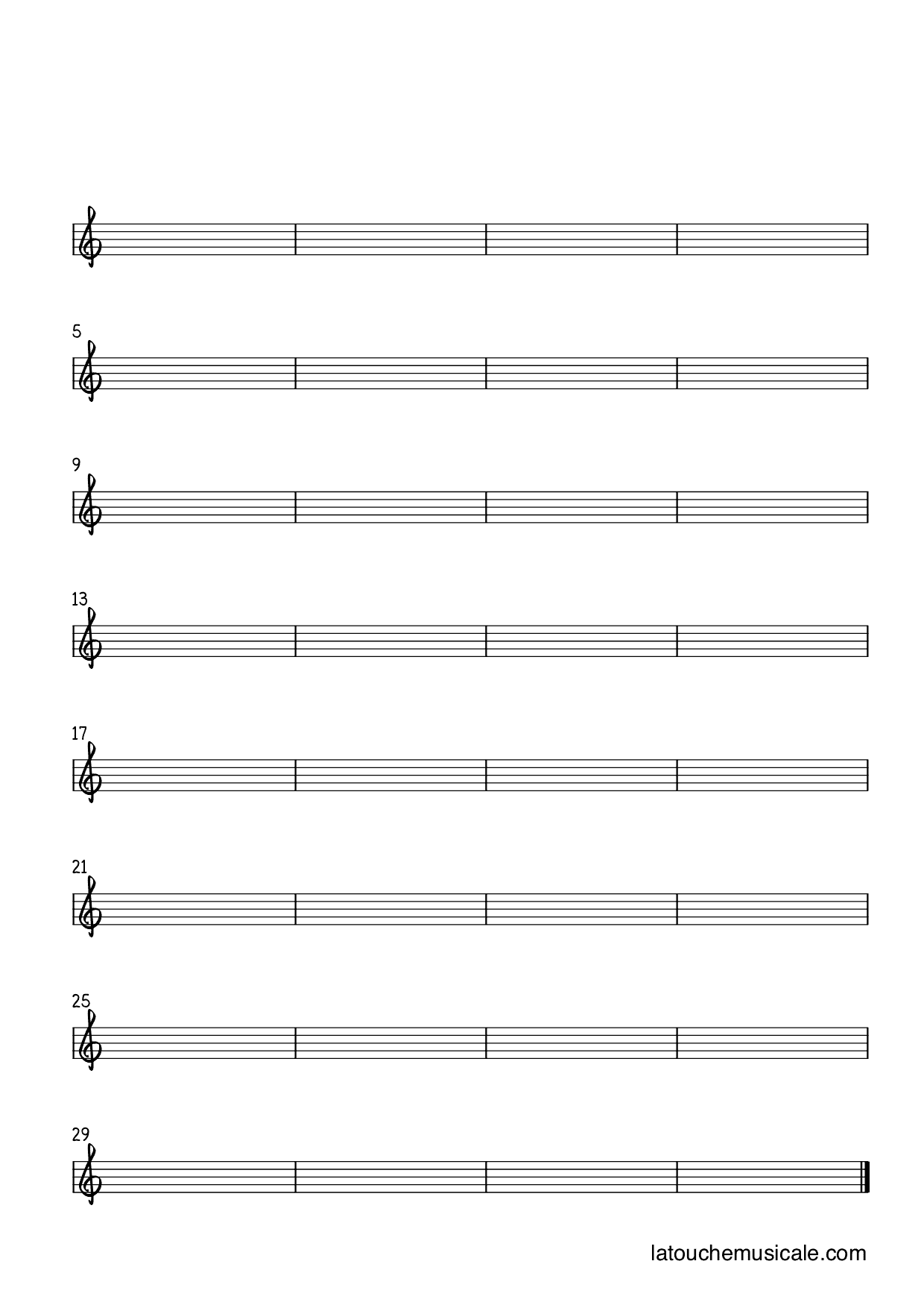 8 staves treble clef bars