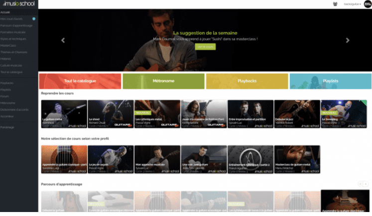 page accueil compte imusic school