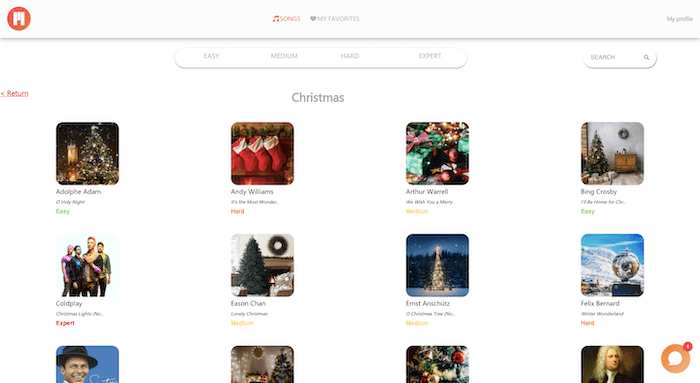christmas piano songs learning app