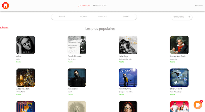 musiques populaires piano application