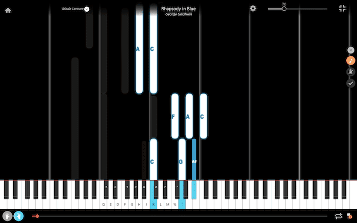 rhapsody on blue piano notes right hand